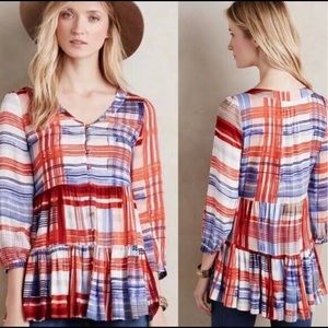 Anthropologie Marve Lila Tiered Tunic Blouse xs